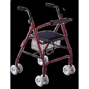 Andador con asiento y ruedas delanteras y traseras. Rolator Roler de aluminio.
